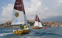1.	 Photo - Paul Borg & Kylie Forth closing in from behind at the 2006 Homerus Blind Match Racing Championships in Porto Maurizio, Italy.