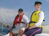 5.	 Photo - Paul Borg & Kylie Forth training for the 2006 Homerus Blind Match Racing Championships.